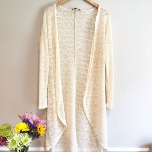 HONEY PUNCH Cream Lace Long Cardigan